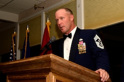 Montana Air National Guard Command Chief Master Sgt. Timothy Zumbrun served as master of ceremonies for the MTANG Chief Induction Ceremony held at the Meadowlark Country Club in Great Falls, Mont., Oct. 14, 2017. Chief Master Sgts. Chad W. Anderson, Joel R. Clum, Lynn U. Oatman and Sean P. O'Connell were inducted during the ceremony into the top United States Air Force enlisted rank. (U.S. Air National Guard photo/Senior Master Sgt. Eric Peterson)