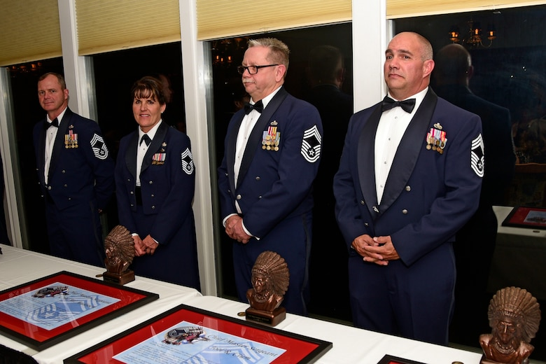 Montana Air National Guard Chief Master Sgts. Chad W. Anderson, Joel R. Clum, Lynn U. Oatman and Sean P. O'Connell were inducted into the top United States Air Force enlisted rank during the MTANG Chief Induction Ceremony held at the Meadowlark Country Club in Great Falls, Mont., Oct. 14, 2017. (U.S. Air National Guard photo/Senior Master Sgt. Eric Peterson)