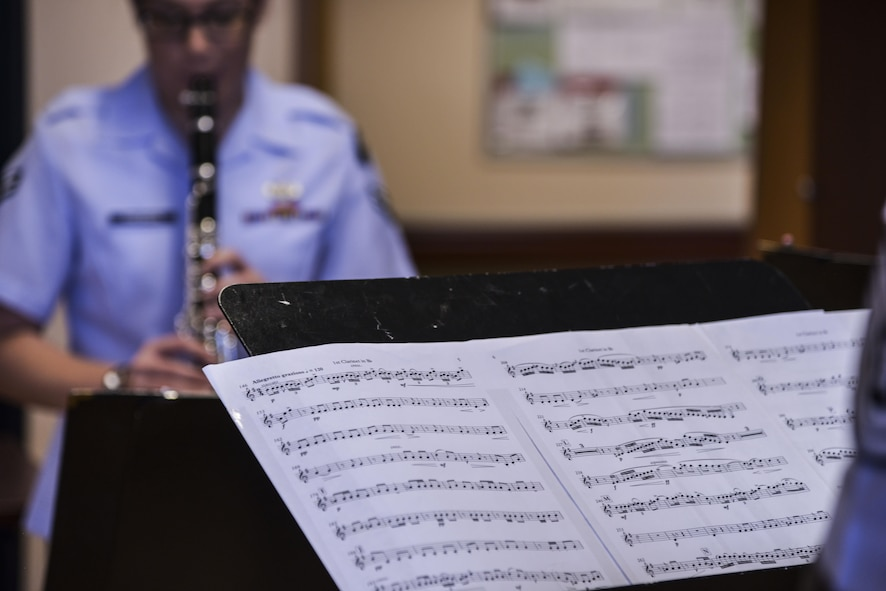 Members of the Air Force Academy's Clarinet Quartet play a medley of iconic military songs at the Raymond G. Murphy Veterans Affairs Medical Center, N.M., Oct. 21, 2017.  The quartet visited to play a few songs for the veterans as well as participate in fellowship. (U.S. Air Force photo by Airman 1st Class Lexi Crawford)