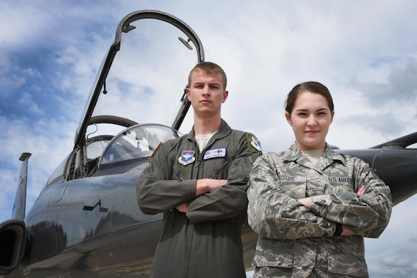 Second Lt. Matthew Frizzell, 47th Student Squadron student pilot, and Senior Airman Juliana Busque, 47th Flying Training Wing administration technician, are representing a new medical liaison program taking flight at Laughlin Air Force Base, Texas. Busque is a member of the 47th Medical Group who is serving as a link between the medical group and the undergraduate pilot training students, providing them the answers they need during the year long flight course. (U.S. Air Force photo/Airman 1st Class Anne McCready)