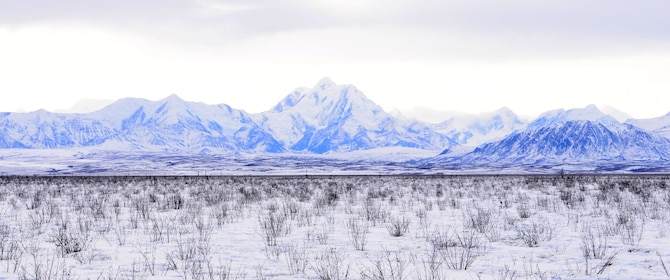 Mountains are seen in the background on the Joint Pacific Alaska Range Complex, March 1, 2016, in Delta Junction, Alaska.