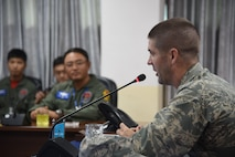 7th AF vice commander, Brig. Gen. Lansing Pilch, addresses leadership of the Republic of Korea Air Force's 38th Fighter Group.