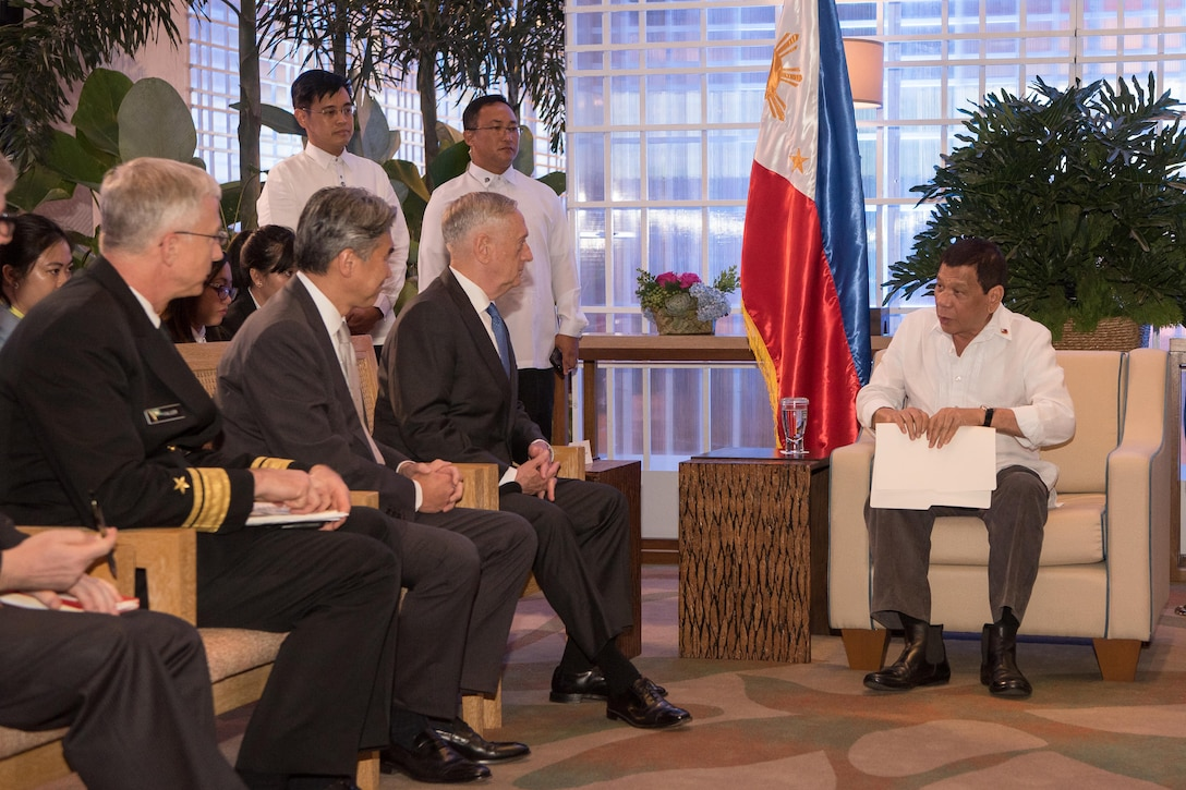 Defense Secretary Jim Mattis meets with the president of the Philippines.