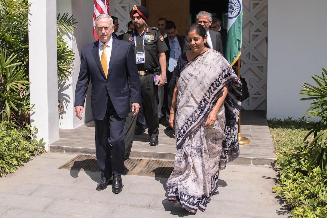 Defense Secretary Jim Mattis speaks with the Indian defense minister.