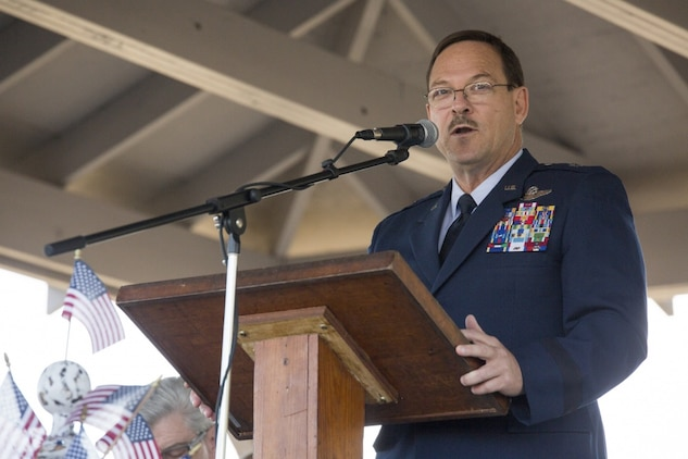 Brig. Gen. Billy Nabors, the Mississippi Air National Guard chief of staff, speaks to attendees about the pride in serving your country, at Mississippi's 200th birthday celebration in Moorhead, Miss., Oct. 19, 2017. The event was held to not only celebrate Mississippi's birthday, but to also memorialize the 15 Marines and one sailor who perished in a C-130 aircraft accident in the neighboring county of Leflore. (U.S. Marine Corps photo by Cpl. Dallas Johnson)