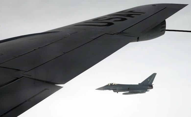 A German air force Tornado flies alongside a U.S. Air Force KC-135 Stratotanker from RAF Mildenhall, England, Oct. 24, 2017, over Germany. The German air force conducts regular training with the U.S. Air Force to continue fostering good relations between NATO allies. (U.S. Air Force photo by Airman 1st Class Benjamin Cooper)