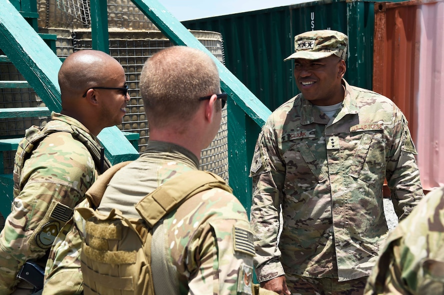 3rd AF commander meets Airmen deployed to Camp Simba, Manda Bay, Kenya