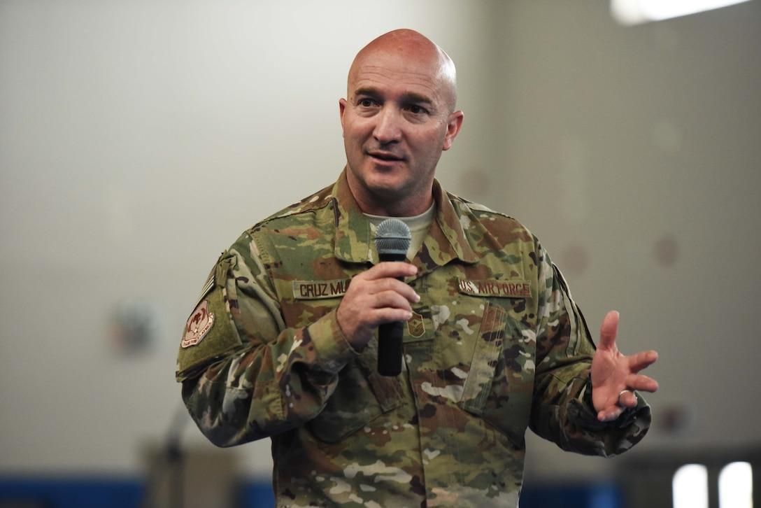 3rd AF Command Chief speaks at an all-call at Camp Lemonnier