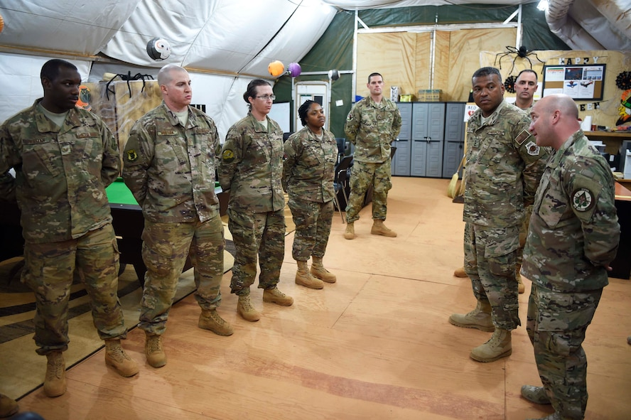 3rd AF commander and command chief visit services Airmen