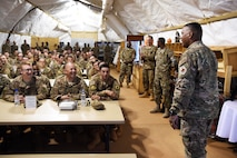 3rd AF commander talks to Airmen at an all-call