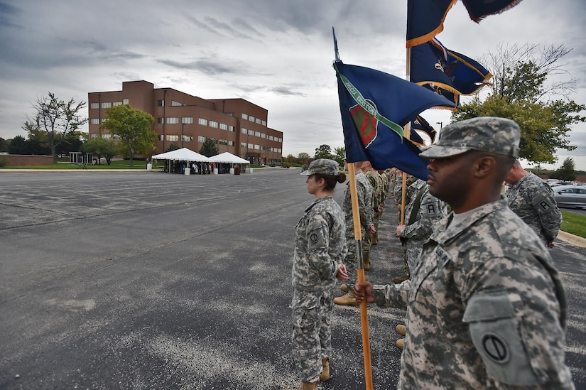 The 85th Support Command's Training Support and Logistic Support Battalions, and Brigade Support Elements stand in formation ahead of the Assumption of Command Ceremony held at the 85th Support Command headquarters in Arlington Heights, Illinois, October 21, 2017.