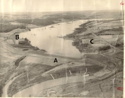 This 1959 photograph shows Whitney Point Lake when the concept of the U.S. Army Corps of Engineers operating the Whitney Point Dam for recreational benefits in addition to flood risk management was initially being discussed. The A notes the dam itself, B is a proposed swimming area and C is a proposed picnic area. Since the 1960s, recreation has been a benefit of Whitney Point Dam and the U.S. Army Corps of Engineers works closely with the Broome County Department of Parks and Recreation, who manages the recreational facilities associated with the lake.