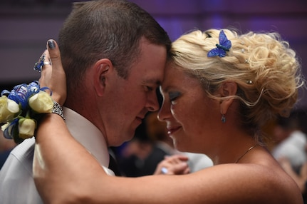 Attendees Dowaine Scott and Rachael Peterson dance together during the Air Force Ball at the Charleston Area Convention Center in North Charleston, S.C., Oct. 21, 2017.