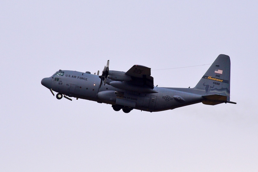 A C-130 Hercules transport aircraft assigned to the 120th Airlift Wing of the Montana Air National Guard takes off from the Great Falls International Airport in Great Falls, Mont. Oct. 11, 2017. The aircraft was transporting members of the 219th RED HORSE Squadron on its first flight to the United States territory of Puerto Rico. The heavy construction specialists deployed to assist with Hurricane Maria relief efforts. (U.S. Air National Guard photo/Senior Master Sgt. Eric Peterson)