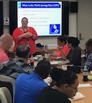 "Guest speaker, Billie Prater, hosts ""TSP: Know How to Invest"" during one of DLA Distribution Pearl Harbor, Hawaii's, Lunch-n-Learn sessions."