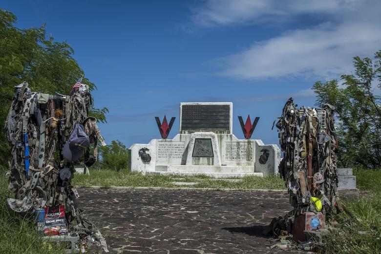 The Marine memorial atop Mt. Suribachi, Oct. 17, 2017, at Iwo To, Japan.