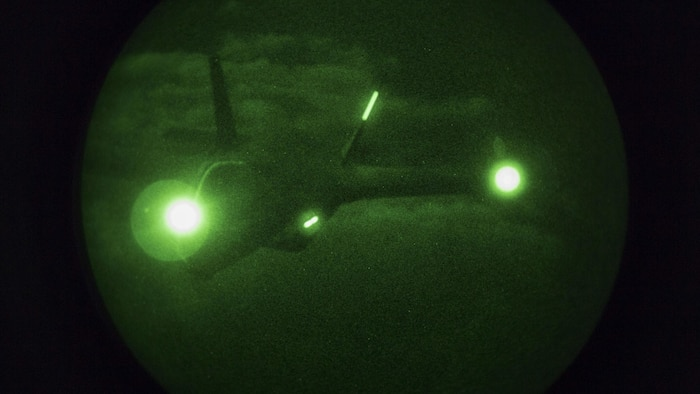 VMGR-152 conducts nighttime aerial refueling with VMFA-121, VMFA-251