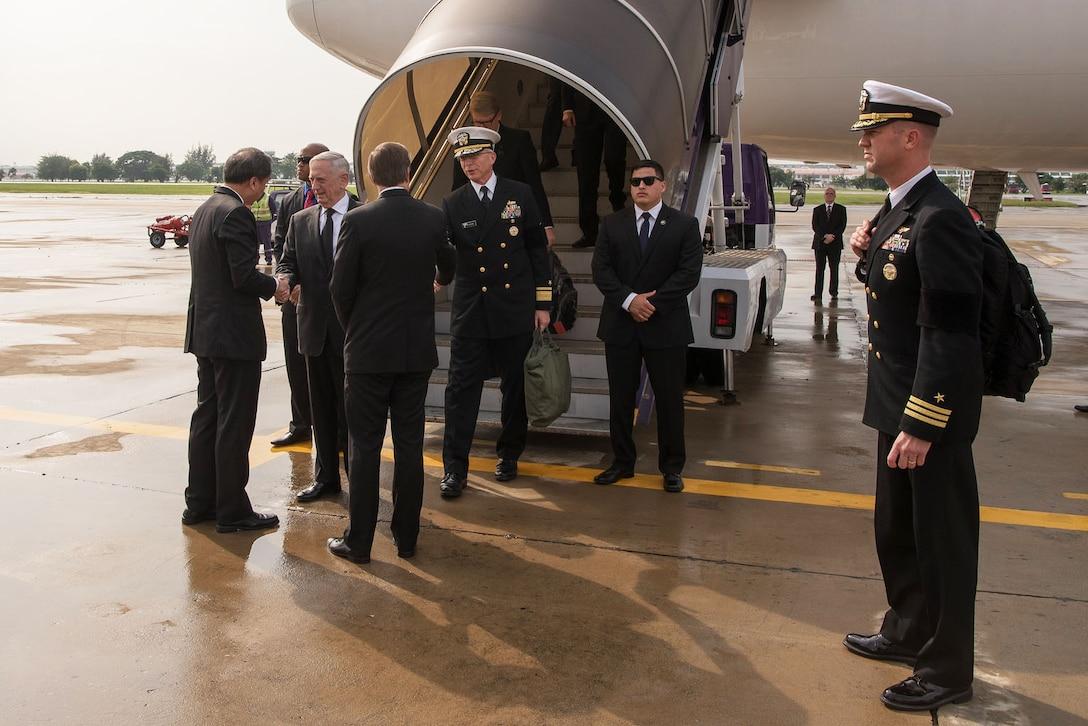Defense Secretary Jim Mattis arrives in Thailand.