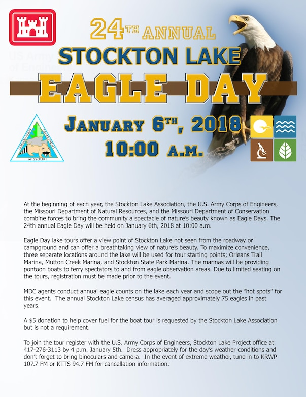 Stockton Lake will host the 24th annual Eagle Day January 6th, 2018. Register for the boat tours by January 5th.