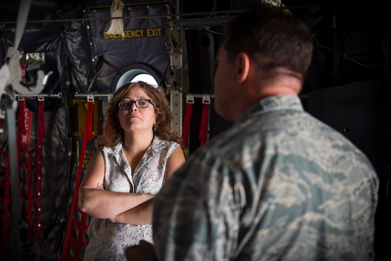 Israeli Air Force Col. (Dr.) Yifat Erlich-Shoham, Surgeon General of the Israeli Air Force, is briefed on the 59th Medical Wing's air evacuation capabilities by Col. (Dr.) Mark Ervin at Joint Base San Antonio-Camp Bullis, Oct. 24, 2017. Erlich-Shoham's visit symbolizes a continued Air Force medical partnership between the United States and Israel. (U.S. Air Force photo by Senior Airman Keifer Bowes)