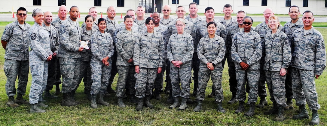 Reserve senior noncommissioned officers attending the 340th Flying Training Group-hosted Air Force Reserve Command senior NCO leadership course