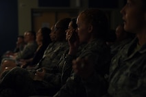 With personal accounts of their past the speakers of the event inspired laughter and tears from those in the auditorium, October 18, 2017. Storytellers was established in 2012 to encourage Airmen to share obstacles they've faced in the past and how they were able to overcome them. (U.S. Air Force photo/Airman 1st Class Haley Stevens)
