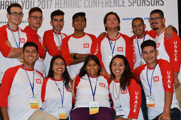 College engineering students pose for a picture during the Hispanic Engineer National Achievement Awards Conference College Bowl Oct. 20 in Pasadena, Calif. Great Minds in STEM's annual HENAAC Conference is the organization's flagship event to celebrate Hispanic excellence in STEM. This year's conference was hosted Oct. 18 to 22 in Pasadena.