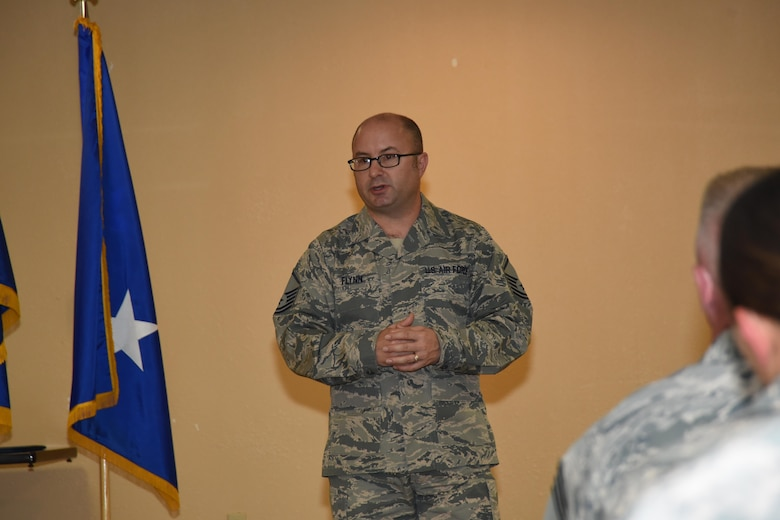 Master Sgt. Christopher Flynn spoke with 10th Air Force staff during the Commander's Call on October 15. Master Sgt. Flynn is a recruiter specializing in Air Reserve Technician vacancies. There are many vacancies across 10th Air Force units, including some here at Naval Air Station Fort Worth Joint Reserve Base.