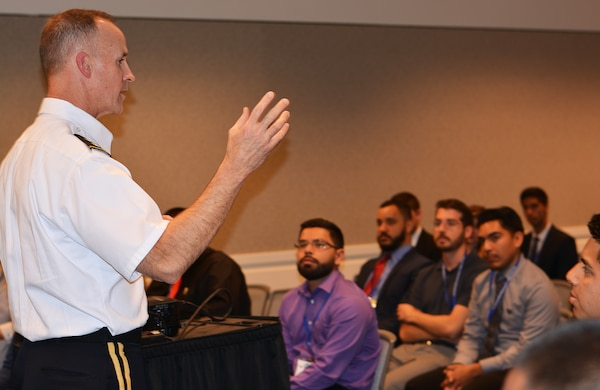 Maj. Gen. Michael Wehr, deputy commanding general, U.S. Army Corps of Engineers, talks to student-engineers about the Corps' mission during an Oct. 19 seminar at the Hispanic Engineer National Achievement Awards Conference in Pasadena, Calif.