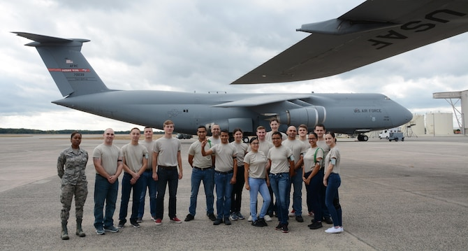 The Westover Training and Development Flight's future Airmen take a tour of a C-5M Super Galaxy.