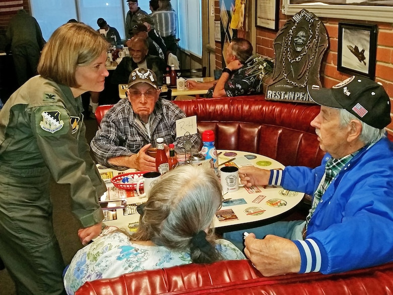 Coffee with veterans in Lancaster, California.