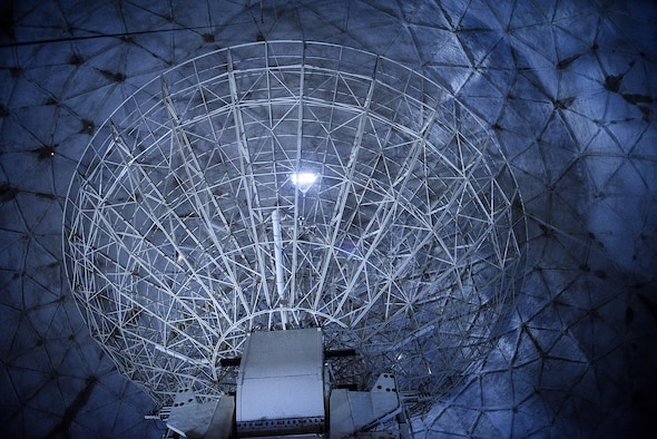 Evening photo of large radar array