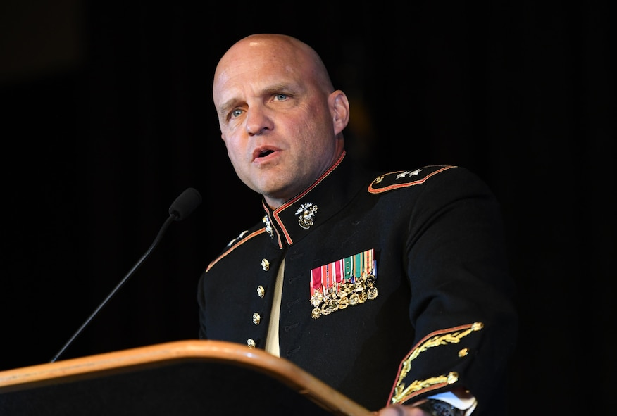 U.S. Marine Maj. Gen. David Bellon, U.S. Marine Forces, South commander, delivers comments during the 39th Annual Salute to the Military at the Mississippi Coast Convention Center, Oct. 24, 2017, Biloxi, Mississippi. The Salute to the Military event recognized the men and women who serve in the military along the Gulf Coast. (U.S. Air Force photo by Kemberly Groue)