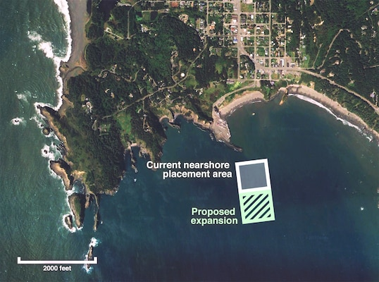 Map of the Port Orford project area, showing current nearshore placement area and proposed expansion area along the southern boundary.