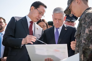 U.S. and South Korean defense leaders visit the Demilitarized Zone between North and South Korea.