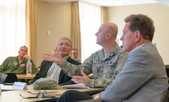 Col. Danny Davis, 81st Mission Support Group commander, engages in discussion with Keesler and community leaders during the Air Force Community Partnership Program Agreements Workshop at the Gulf Park Campus of The University of Southern Mississippi Oct. 25, 2017, Long Beach, Mississippi. The program is part of a larger Air Force Public-Public, Public-Private (P4) initiative to encourage installations and local communities to combine or improve resources or operating processes. Mississippi representatives from state and local communities and various civic leaders attended the event. (U.S. Air Force photo by Andre' Askew)