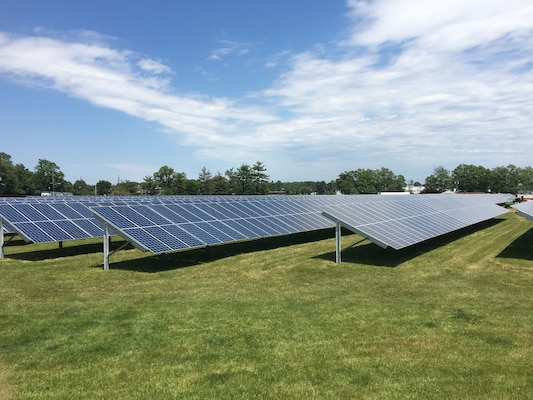 Solar panels constructed in field