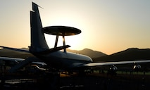 A U.S. Air Force E-3 Sentry airborne warning and control system sits on the flight line during the Seoul International Aerospace and Defense Exhibition 2017 at Seoul Air Base, South Korea, Oct. 21, 2017. The Seoul ADEX is the largest, most comprehensive event of its kind in Northeast Asia, attracting aviation and aerospace professionals, key defense personnel, aviation enthusiasts and the general public alike. (U.S. Air Force photo by Staff Sgt. Alex Fox Echols III)