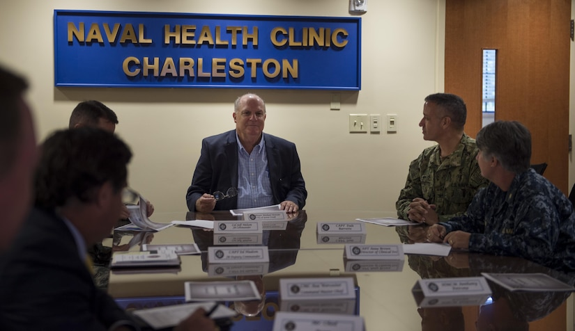 Goose Creek Mayor Michael Heitzler, center, speaks to Joint Base Charleston leadership during a tour of the Army Strategic Logistics Activity Charleston, JB Charleston Weapons Station, S.C., Oct. 25, 2017.