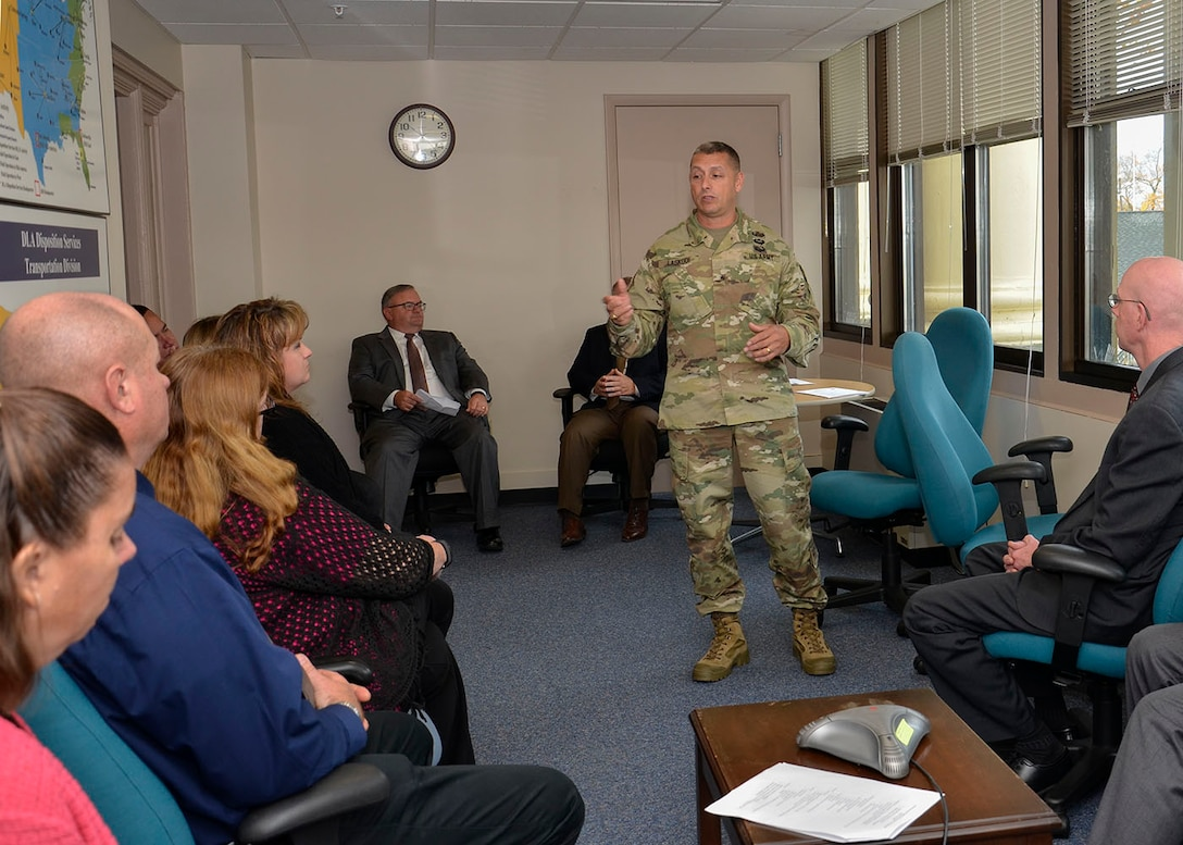 Army Brig. Gen. John S. Laskodi, commanding general, Defense Logistics Agency Distribution, meets with his Battle Creek, Michigan, workforce and thanks them for their support to DLA Disposition Services during a site visit Oct. 25.