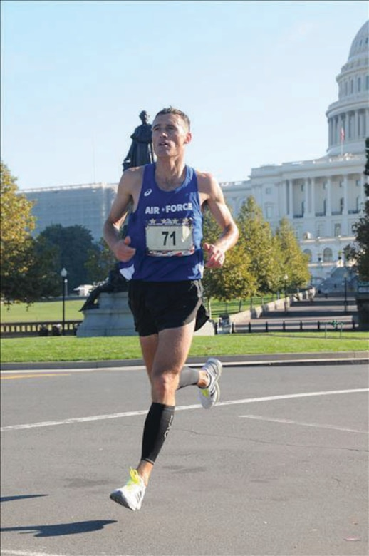 Capt. Kristopher Houghton of the 377th Air Base Wing Judge Advocate General office was a member of the Air Force Marathon Team and brought home the first-place finish for the Armed Forces Marathon Championship with a time of 2:28:28.