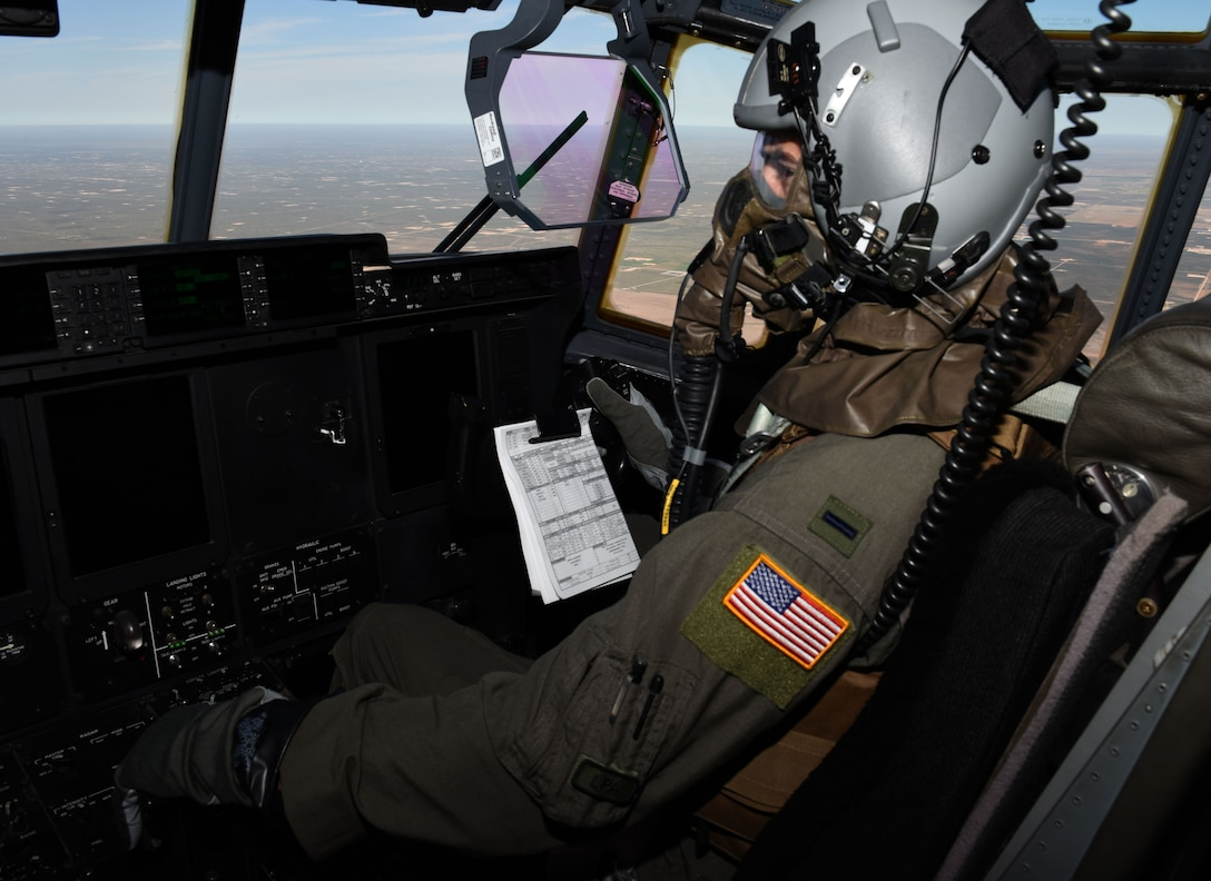 First Lt. Garrett Iapicco 40th Airlift Squadron conducts a full spectrum readiness sortie on a C-130J while wearing aircrew eye/respiratory protection system (AERPS) gear