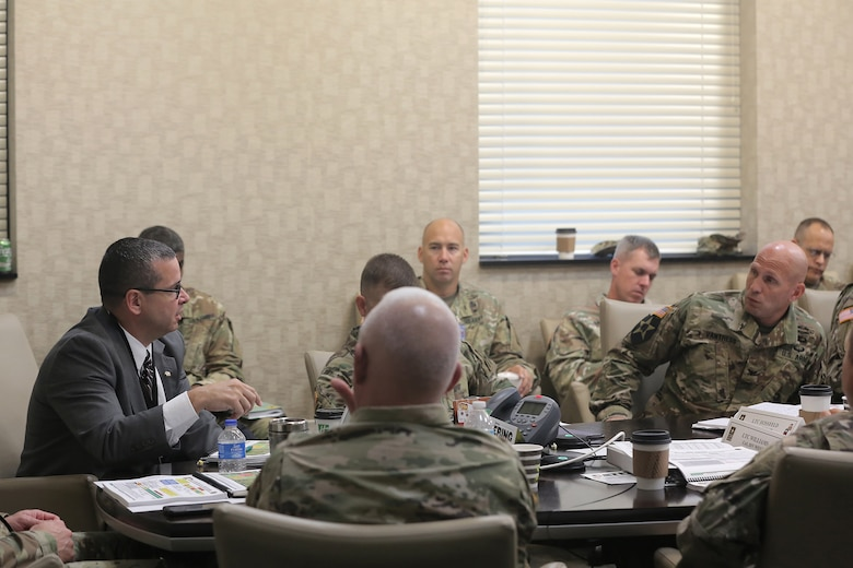 Robert Spinelli, Command Executive Officer, 85th Support Command, discusses mobilization force generation installations, mobilizing battalions, and manning in the Army Reserve Troop Program Unit structure to First Army brigade command teams during the 85th Support Command's New Brigade Command Teams Orientation brief at Rock Island Arsenal, Illinois, October 22, 2017.