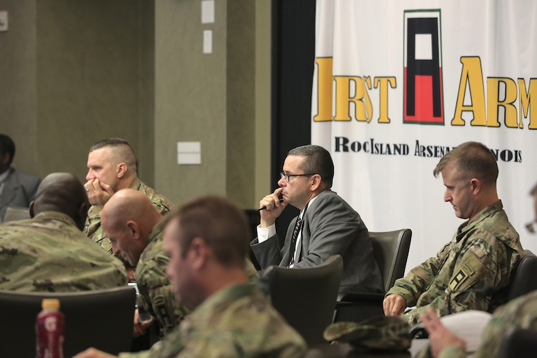 First Army and 85th Support Command senior leaders discuss Army Reserve actions and processes during the 85th Support Command's New Brigade Command Teams Orientation brief at Rock Island Arsenal, Illinois, October 22, 2017.