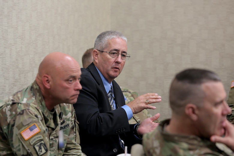 Kevin Greene, Staff Operations and Training Officer, 85th Support Command, discusses strength management and the importance of recruiting and retention initiatives at the battalion-level to First Army brigade command teams during the 85th Support Command's New Brigade Command Teams Orientation brief at Rock Island Arsenal, Illinois, October 22, 2017.