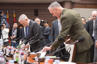 Defense Secretary Jim Mattis, left, and Marine Corps Gen. Joe Dunford, chairman of the Joint Chiefs of Staff; participate in the 49th Security Consultative Meeting at the Ministry of Defense with their South Korean counterparts Minister of National Defense Song Young-moo and South Korea Air Force Gen. Jeong Kyeong-doo, chairman of South Korea's Joint Chiefs of Staff, in Seoul, South Korea, Oct. 28, 2017. DoD photo by Navy Petty Officer 1st Class Dominique A. Pineiro