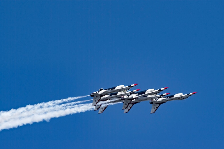 The U.S. Air Force Thunderbirds Flight Demonstration Team soars above Moody Air Force Base during the Thunder Over South Georgia Air Show, Oct. 28, 2017. The Thunderbirds, based out of Nellis Air Force Base, Nev., are the Air Force's premier aerial demonstration team, performing at air shows and special events worldwide. (U.S. Air Force photo by Senior Airman Daniel Snider)