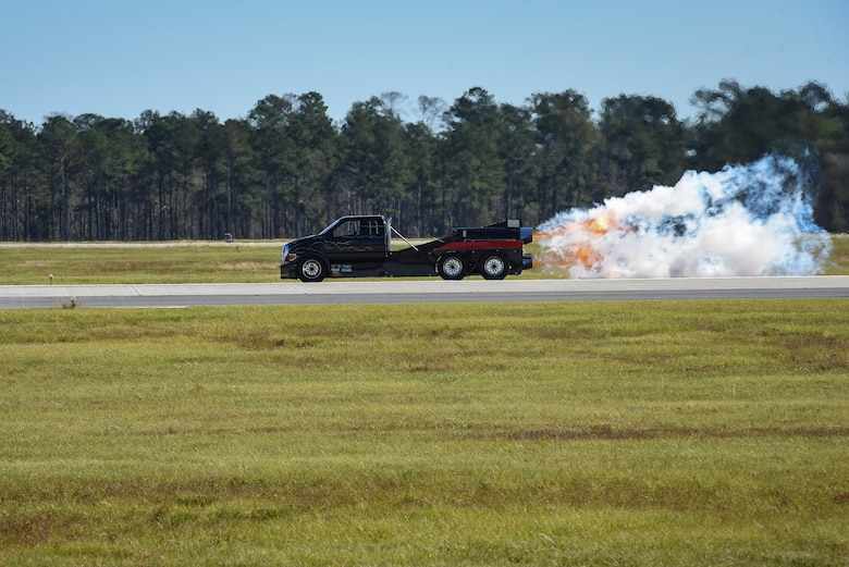 "Jet Truck ""Homewrecker"" speeds down Moody's flightline during the 2017 Thunder Over South Georgia Air Show, Oct. 28, 2017, at Moody Air Force Base, Ga. The air show aims to educate the public on past and present Air Force aerial capabilities, increase recruiting and show appreciation to the local community. (U.S. Air Force photo by Senior Airman Greg Nash)"