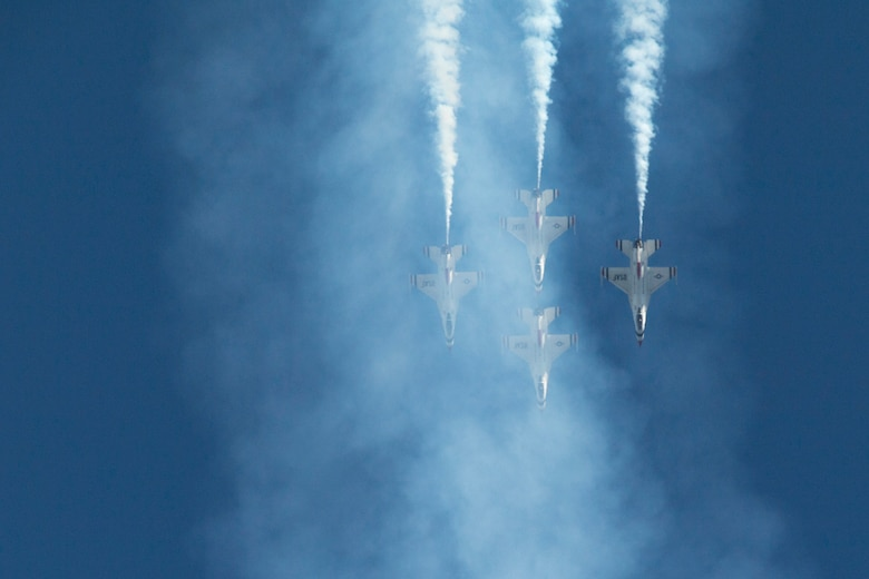 The U.S. Air Force Thunderbirds Flight Demonstration Team soars above Moody Air Force Base during the Thunder Over South Georgia Airshow, Oct. 29, 2017. The Thunderbirds, based out of Nellis Air Force Base, Nev., are the Air Force's premier aerial demonstration team, performing at air shows and special events worldwide. (U.S. Air Force photo by Senior Airman Daniel Snider)