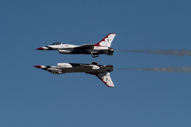 The U.S. Air Force Thunderbirds Flight Demonstration Team soars above Moody Air Force Base during the Thunder Over South Georgia Air Show, Oct. 29, 2017. The Thunderbirds, based out of Nellis Air Force Base, Nev., are the Air Force's premier aerial demonstration team, performing at air shows and special events worldwide. (U.S. Air Force photo by Senior Airman Daniel Snider)